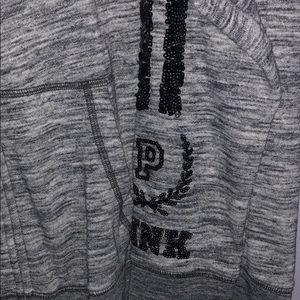 PINK Victoria's Secret Tops - PINK Victoria Secret Zip-up hoodie Sequins Gray